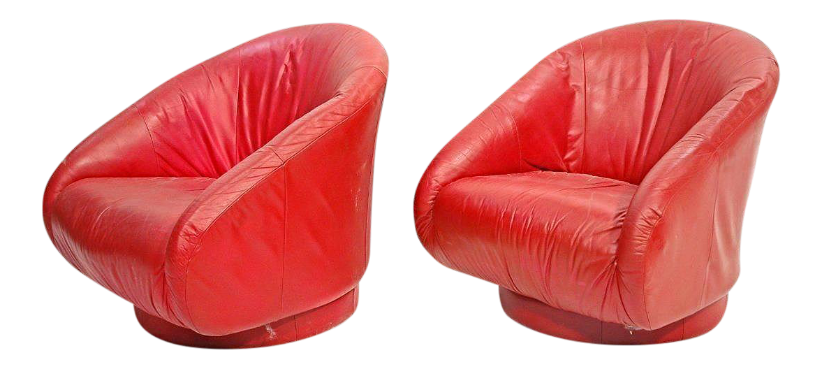Mid Century Modern Red Leather Barrel Back Club Chairs   A Pair