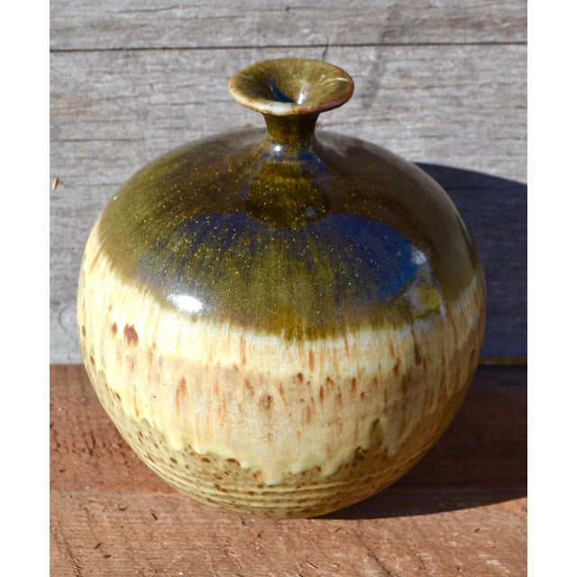 Vintage Ceramic Weed Pot in Olive Green and Earth Tones - Image 3 of 11