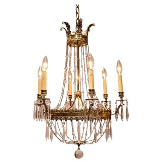 Empire Style Six-Light Gilt Bronze and Crystal Chandelier For Sale