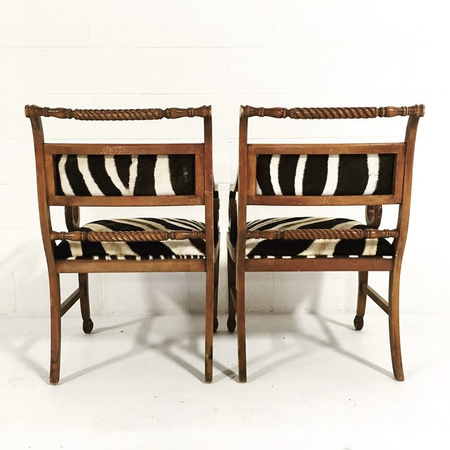 Wood Vintage Carved Zebra Armchairs - a Pair For Sale - Image 7 of 10