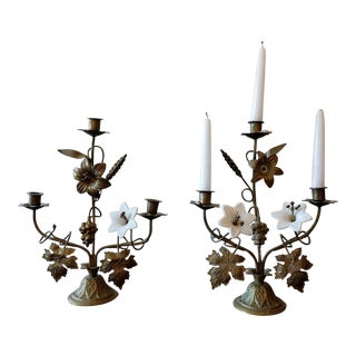 Antique Porcelain Flower Candle Holders - A Pair For Sale