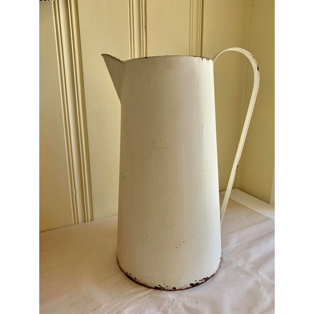 Rustic Farmhouse Large Metal Pitcher Vessel For Sale - Image 4 of 11