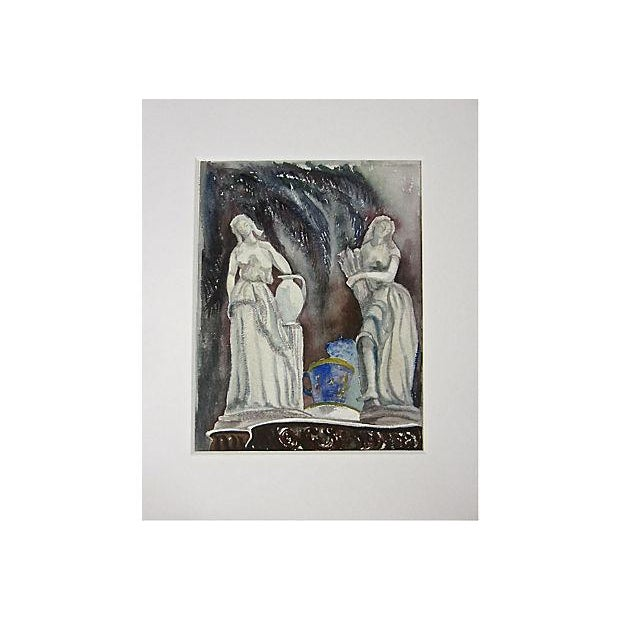 """Figural Watercolor painting of a still fife of classical Italian statues on a table with a tea cup. Image, 14""""H x 11""""L...."""