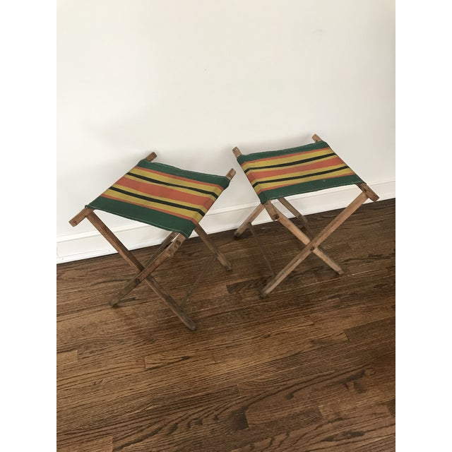 Vintage Striped Folding Canvas Camp Stools - A Pair For Sale - Image 4 of 8