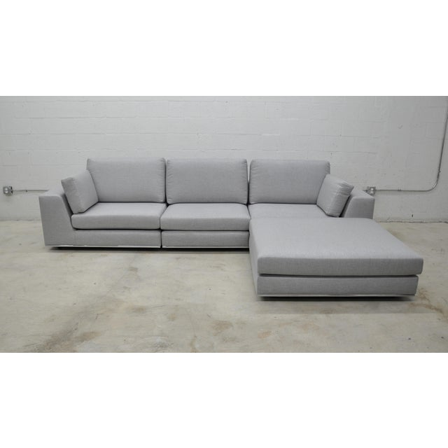 Gray Contemporary Gray Modular Sectional Sofa and Ottoman For Sale - Image 8 of 13