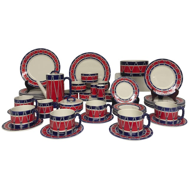 Red White and Blue Mancioli Drum Motiffe Dinnerware For Sale - Image 11 of 11