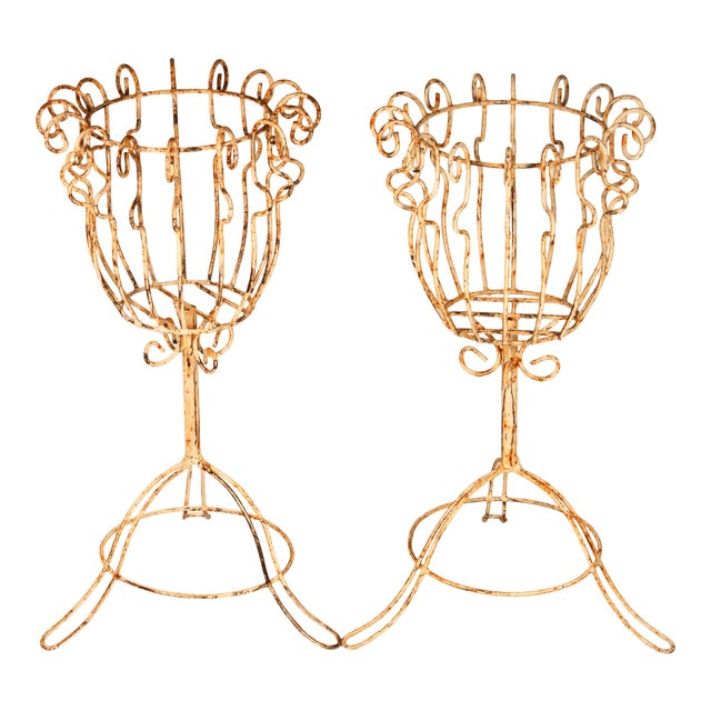 Large French Pedestal Cast Iron Basket Jardinieres - a Pair For Sale