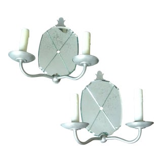 Early 20th Century French Mirrored 2 Arm Wall Sconces - A Pair For Sale