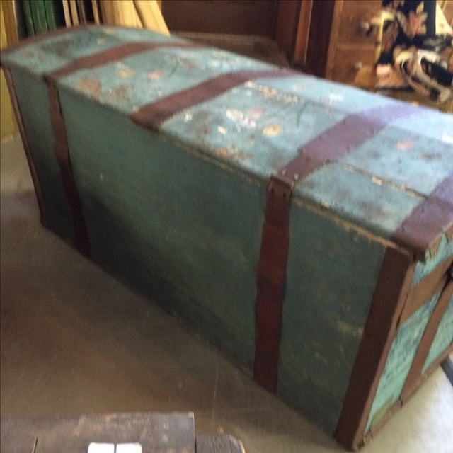 Antique Painted Chest 1822 For Sale - Image 4 of 11