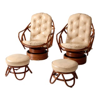 Mid-Century Rattan Swivel Lounge Chairs With Ottoman - Set of 4