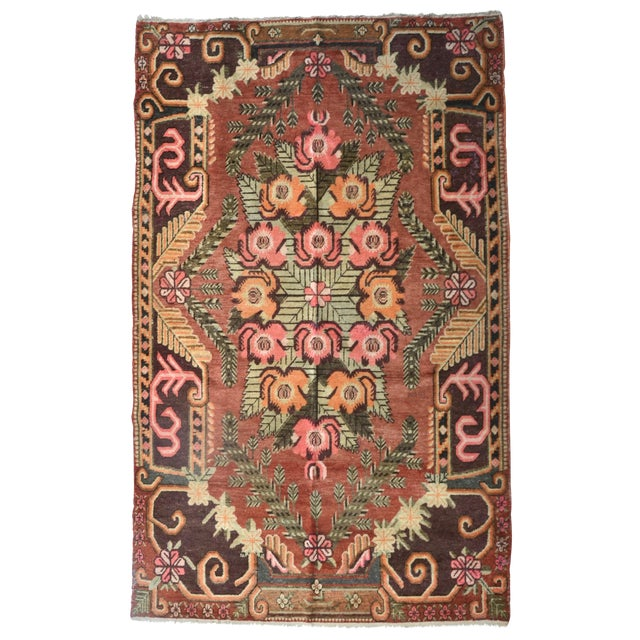 "Gorgeous Vintage Khotan Rug 9'4"" X 5'8"" For Sale"