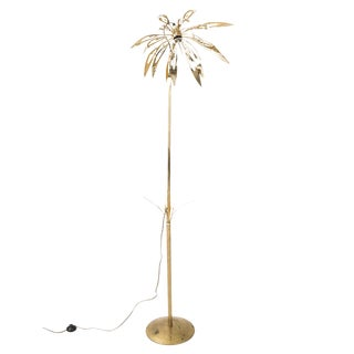 1970's Brass Palm Tree Floor Lamp For Sale