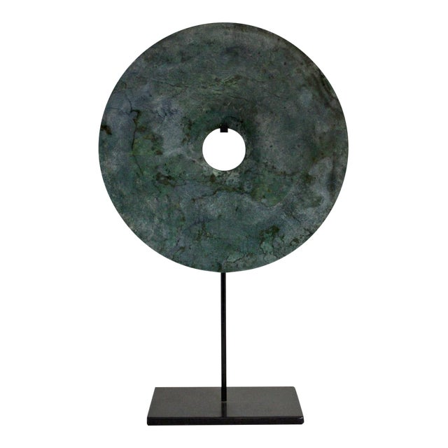 Chinese Natural Green Stone Feng Shui Round Good Luck Display For Sale