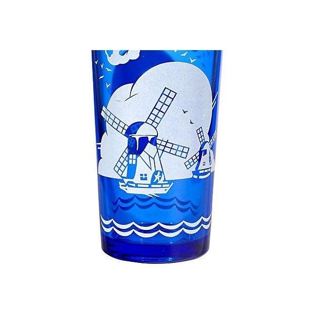 Art Deco Cobalt Windmill Cocktail Set - Set of 6 For Sale - Image 3 of 7
