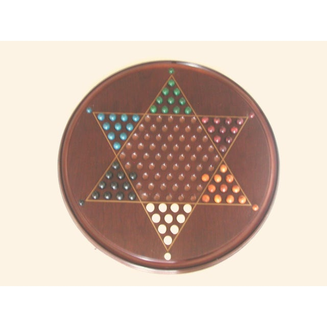 Vintage Wooden Chinese Checkers Board Game For Sale - Image 6 of 6