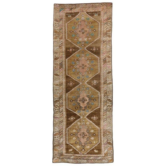 """Mid 20th Century 20th Century Turkish Kars Tribal Gallery Rug - 4'4"""" X 11'7"""" For Sale - Image 5 of 5"""