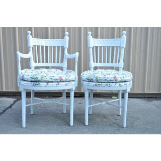 4 Vintage Hollywood Regency White Painted French Style Spindle Back Dining Chair Preview