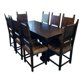 Antique Trestle Table & Leather Dining Chairs For Sale