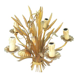 Antiqued Gilt Tole Maison Bagues French Mid Century Sheaf of Wheat 5 Light Chandelier For Sale
