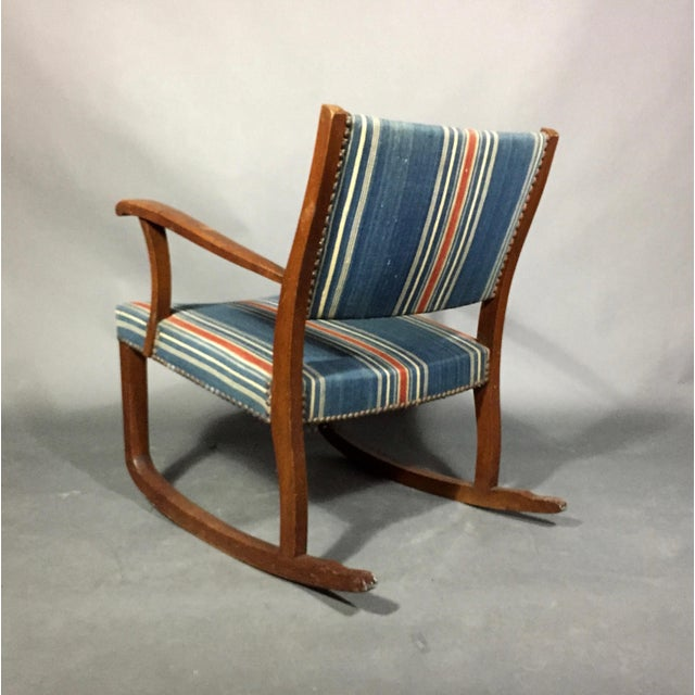 Brass 1940s Danish Rocking Chair, Oak and Wool Stripe For Sale - Image 7 of 12