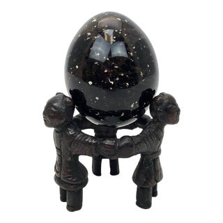 Late 20th Century Black Garnet Egg on Stand For Sale