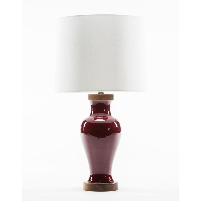 2010s Lawrence & Scott Gabrielle Baluster Porcelain Lamp in Pinot Red For Sale - Image 5 of 5