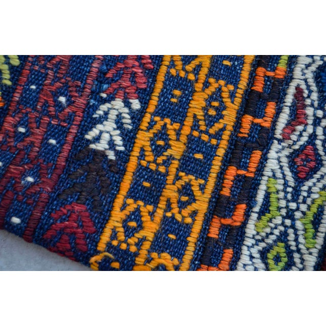 "A Pair Vintage Turkish Kilim Lumbar Pillow Covers - 13"" X 24"" For Sale - Image 4 of 5"