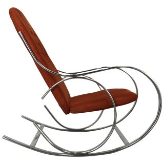 Vintage Mid-Century Milo Baughman Chrome and Fabric Rocking Chair For Sale
