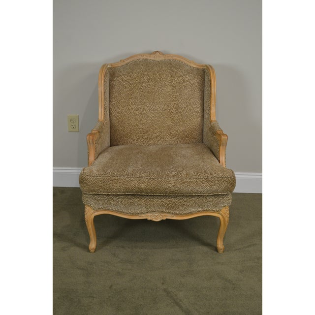 French Louis XV Style Custom Upholstered Wide Seat Bergere Chair With Ottoman For Sale In Philadelphia - Image 6 of 13