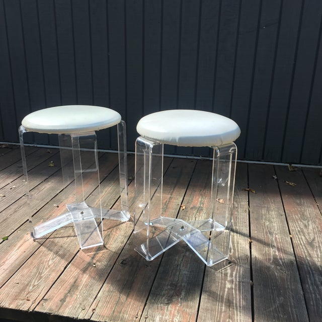 Mid-Century Modern Lucite Vanity Stools- a Pair For Sale - Image 12 of 13