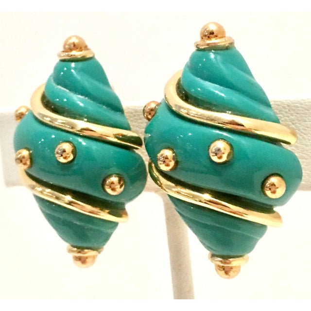 20th Century Gold Plate & Turquoise Enamel Snail Form Clip Style Earrings By, Kenneth Lane. Each piece is signed on the...