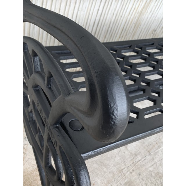 New Large Black Cast Aluminum Garden or Park Bench For Sale - Image 9 of 13