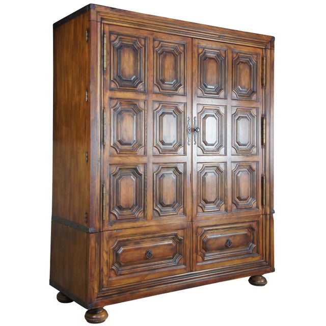 Brutalist Ralph Lauren Old World English Style Oak Sheltering Sky Armoire For Sale - Image 13 of 13