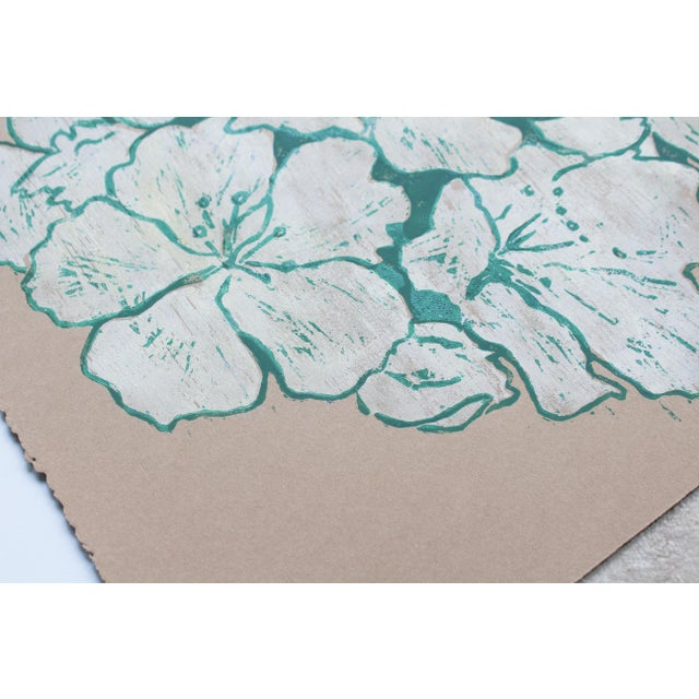 """2010s """"Jasmine Night Smell"""" Floral Woodblock Print by Michelle Farro For Sale - Image 5 of 10"""