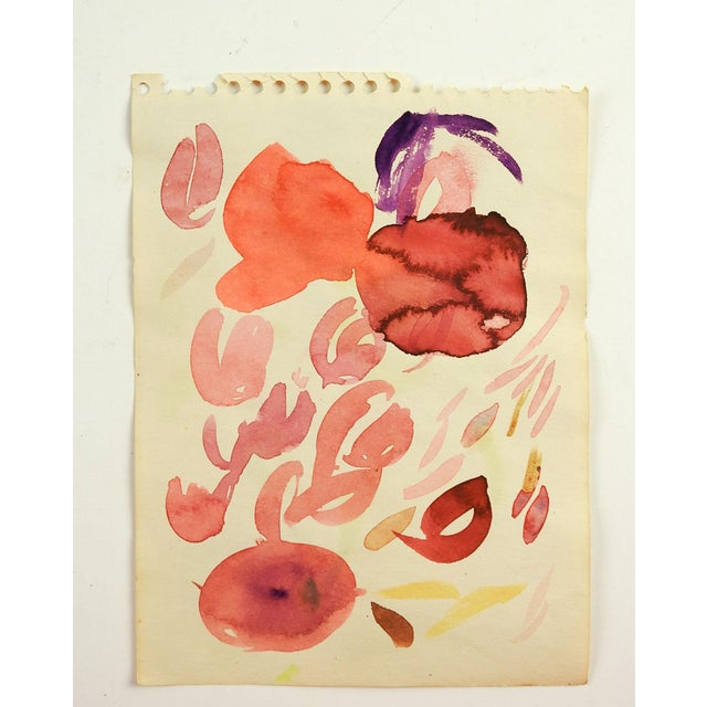 Abstract floral study watercolor on paper in pinks. Unsigned. Unframed, age toning.