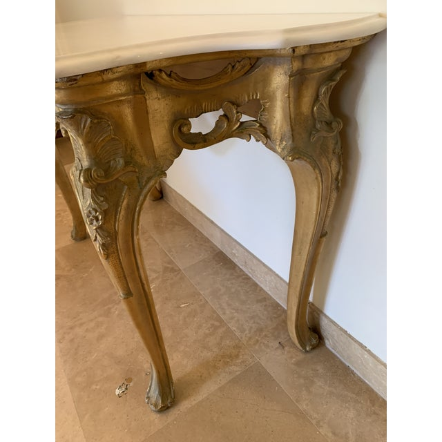Metal 20th Century Louis XV Giltwood Console Table With Marble Top For Sale - Image 7 of 13