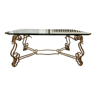 Custom French Style Iron Gold Leaf + Glass Coffee Table For Sale