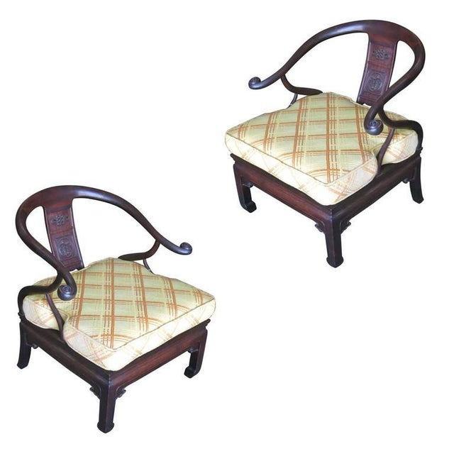 Asian James Mont Style Horseshoe Lounge Chairs- A Pair For Sale - Image 3 of 10