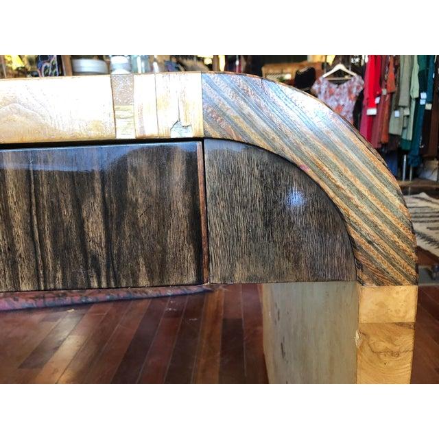 Vintage 1970's Henredon Olive Burl Waterfall Desk/Table For Sale - Image 11 of 13