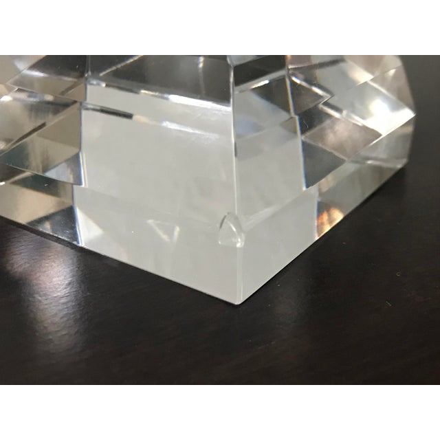 Glass Tiffany & Co Crystal Pyramid Paperweight For Sale - Image 7 of 9