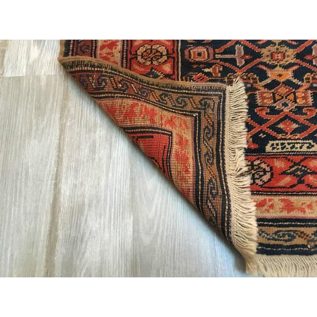 Oversized Semi Antique Caucasian Runner. Vegetable dyed, nicely worn and signed. 15 feet long x 3 feet 6 inches wide. Wear...