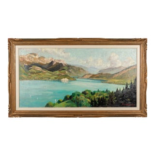 French Impressionist Painting of Lac Anncey by Georges Lachaux For Sale