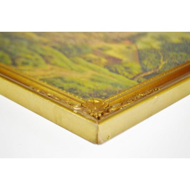 Wood Vintage Gilt Framed Landscape Print on Textured Board For Sale - Image 7 of 13