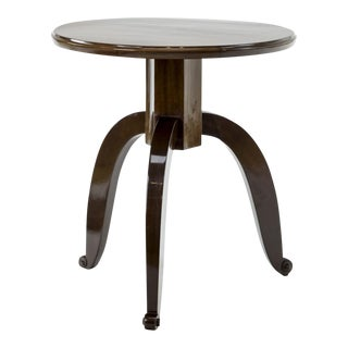 Style of Ruhlmann Mahogany Side Table With a Mother of Pearl Insert For Sale