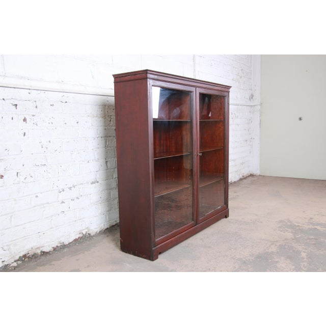 Mission Antique Mahogany Glass Front Double Bookcase, Circa 1900 For Sale - Image 3 of 12