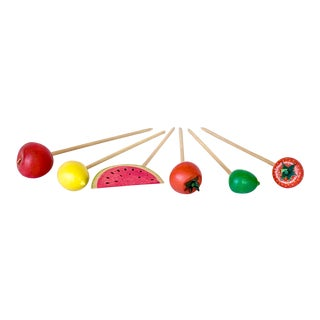 Vintage Set of 6 Wooden Fruit Skewers For Sale