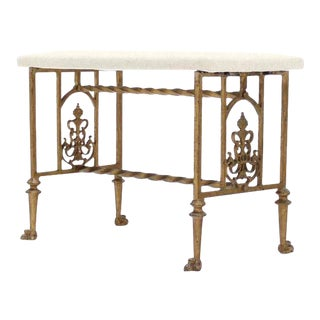 Gothic Cast Iron Art Deco Claw Feet Bench For Sale