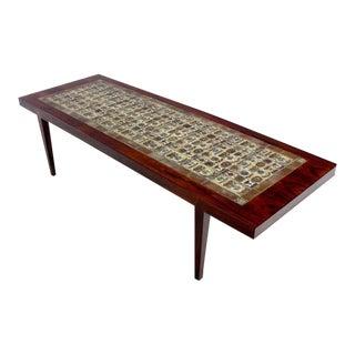 Danish Modern Rosewood Coffee Table by Severin Hansen w/ Royal Copenhagen Tiles For Sale