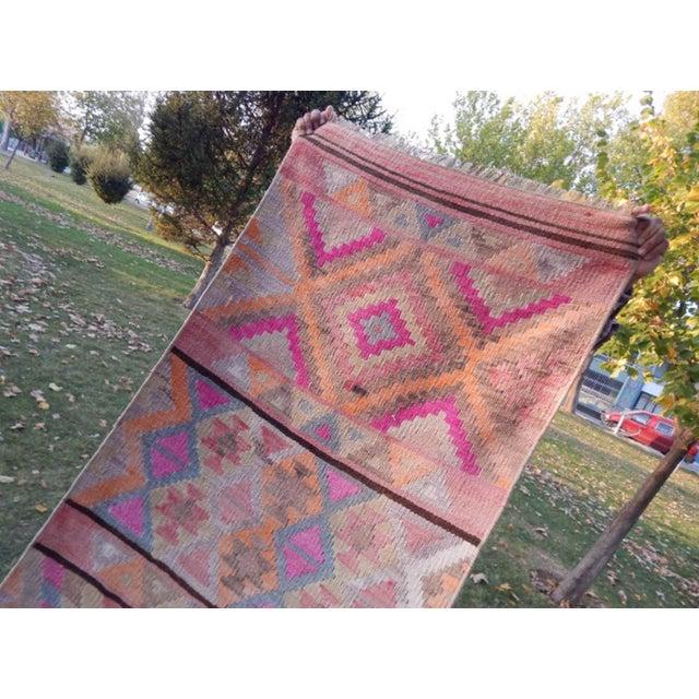 Dark Pink Vintage Kurdish Turkish Kilim Runner Rug 2′7″ × 11′9″ For Sale - Image 8 of 13
