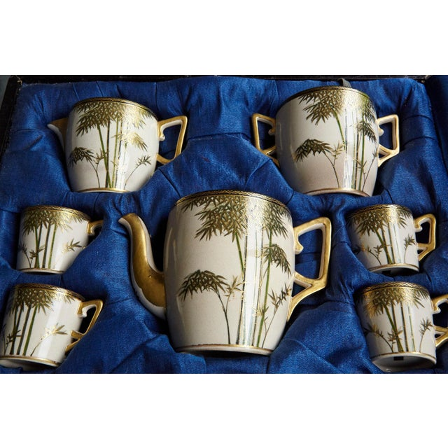 Japanese Hand Painted and Gilded Demitasse Coffee Service, New in Box, 1930s For Sale - Image 10 of 13
